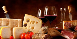 Red wine, cold meats and cheese
