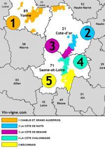 Carte des régions viticoles du vignoble de Bourgogne