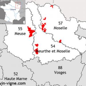 Carte du vignoble et des appellations de la Lorraine