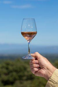 Verre de vin rosé, château romanin, provence, wine tour booking